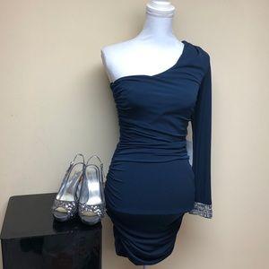 City Navy One-Hand Mini Prom Dress Medium
